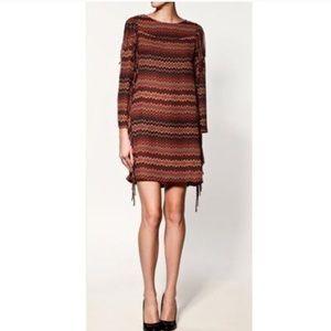 Zara Aztec fringe multicolored print midi dress